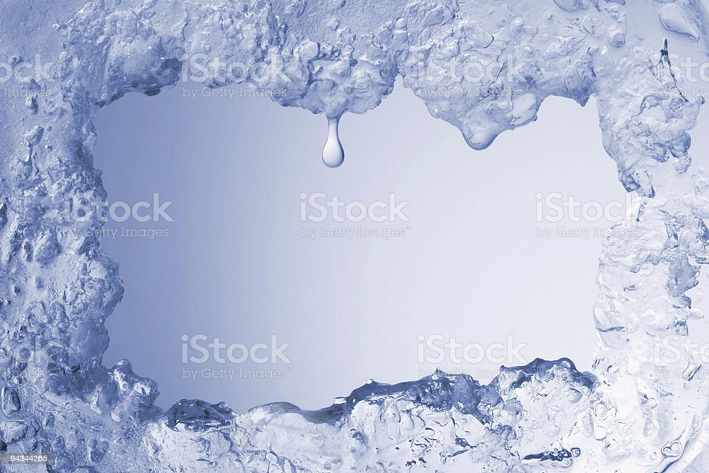Blue ice framing blank pale blue background royalty-free stock photo