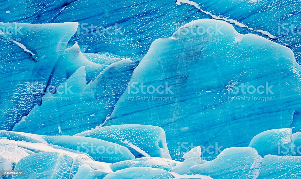 Blue ice of Svinafell glacier in southeast Iceland stock photo