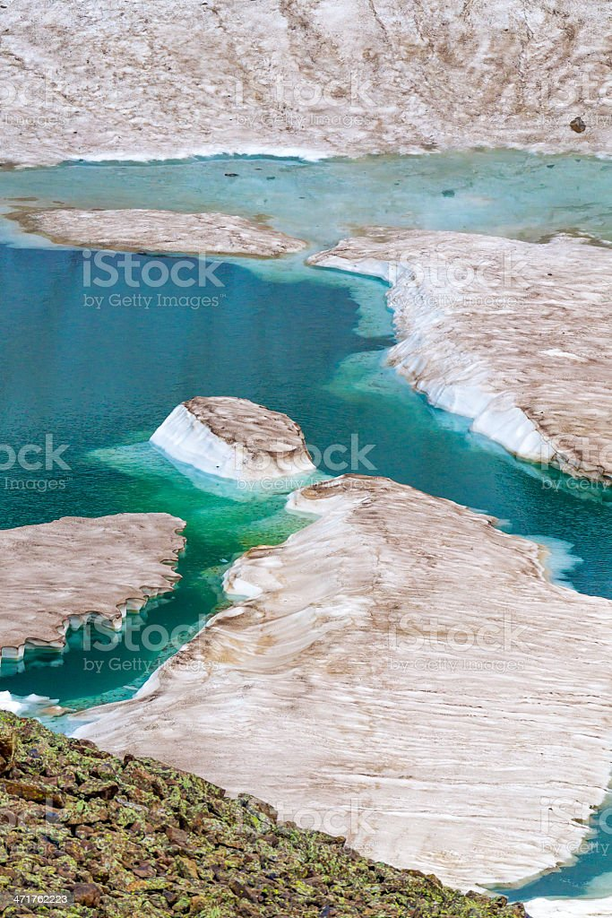 Blue ice pools in summer snow on the Rocky Mountains royalty-free stock photo