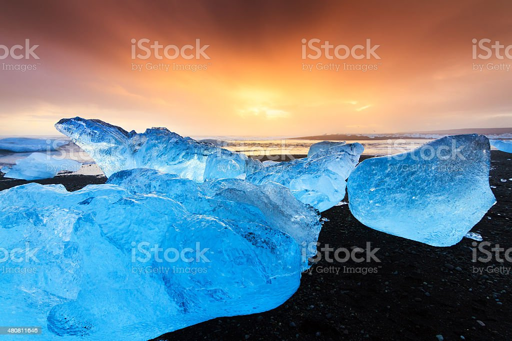 Blue ice sunset stock photo