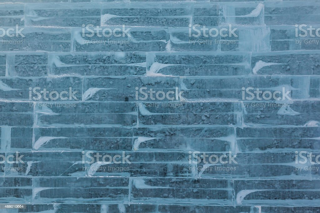 Blue Ice Wall Background Texture stock photo