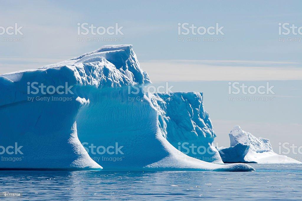 blue icebergs adrift stock photo