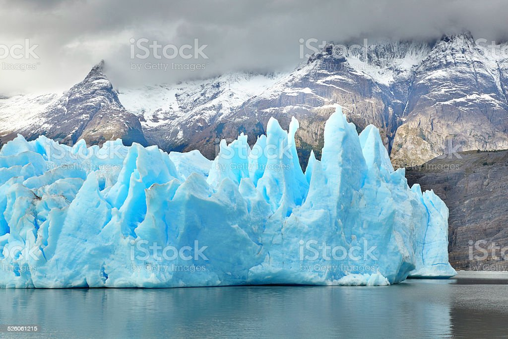 Blue icebergs at Grey Glacier in Torres del Paine stock photo