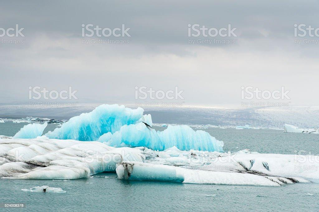 Blue icebergs. Jokulsarlon glacier lake. Vatnajokull National Park. Iceland. August. stock photo