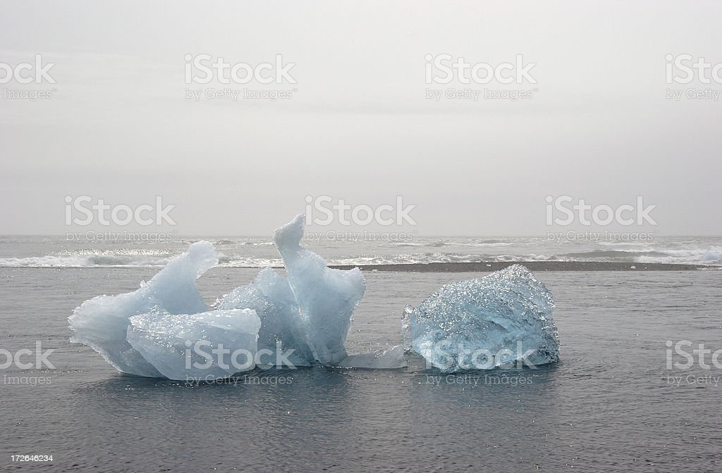 Blue Icebergs Melting in the Ocean royalty-free stock photo