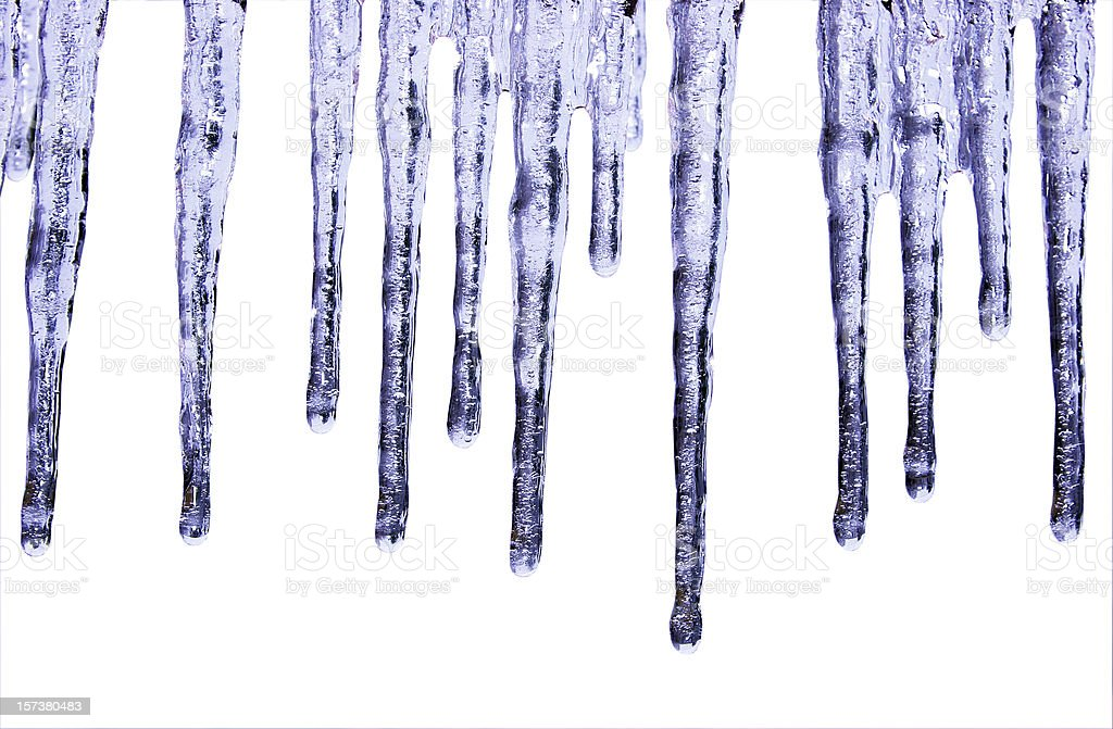 Blue Icicles Isolated on White royalty-free stock photo
