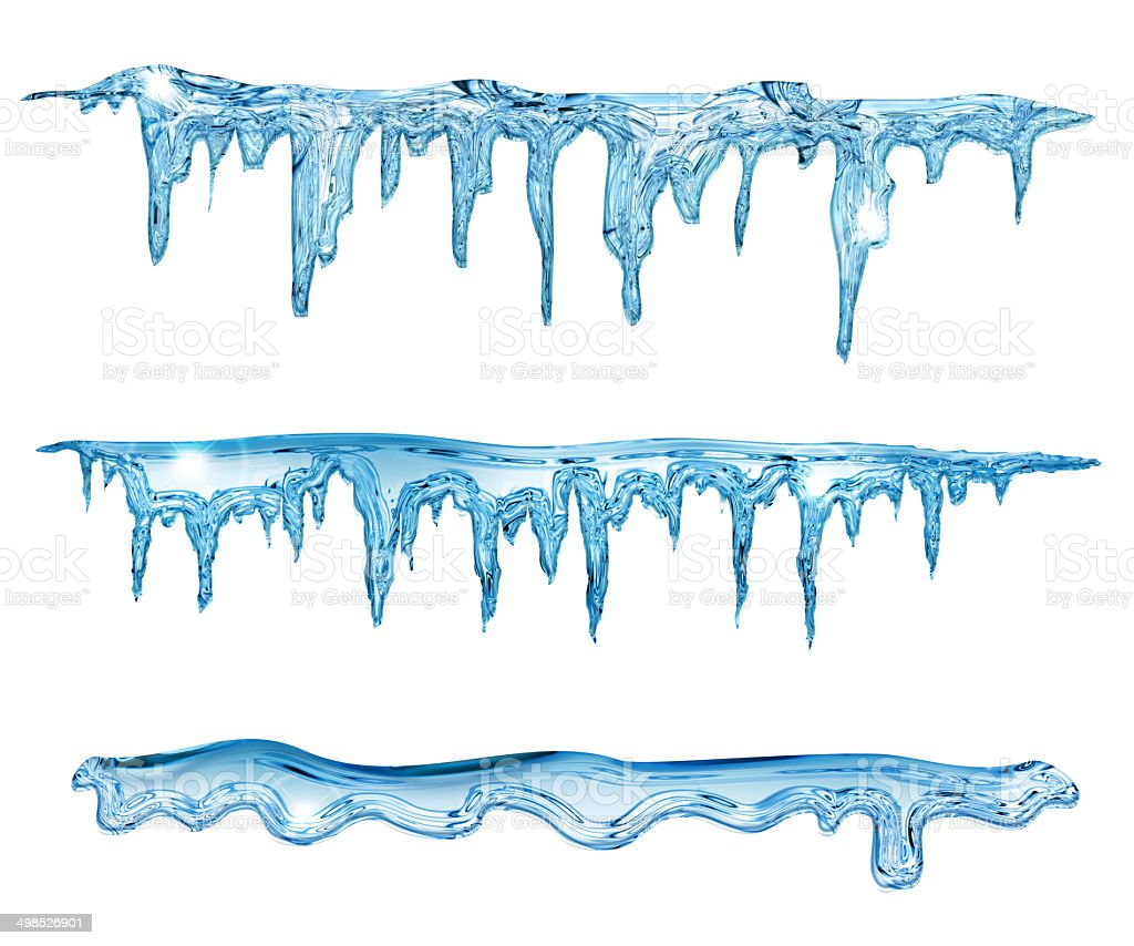 blue icicles vector art illustration