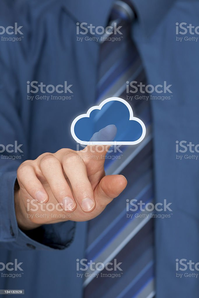 Blue icon of a cloud being moved by a finger royalty-free stock photo