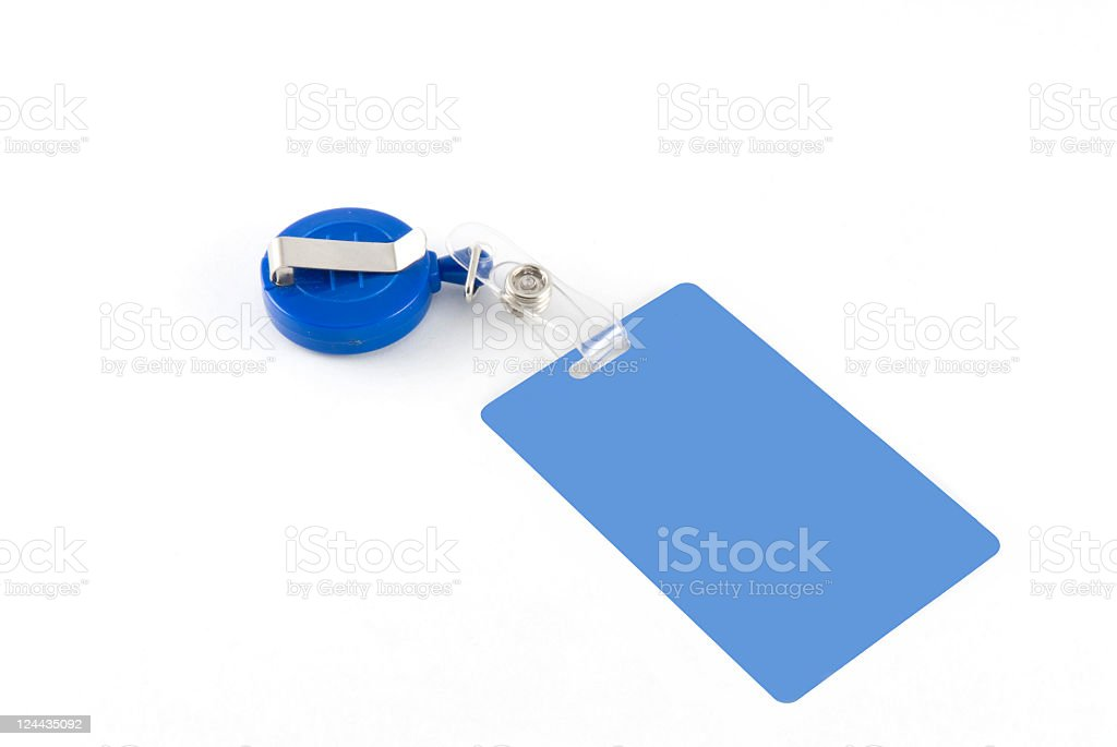 Blue id tag stock photo
