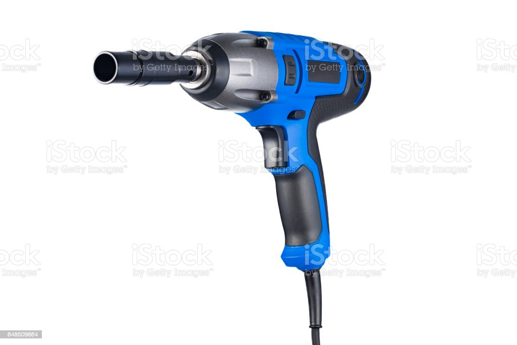 Blue impact gun with socket left view isolated on white stock photo