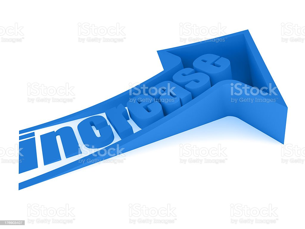 Blue increase text inside arrow royalty-free stock photo