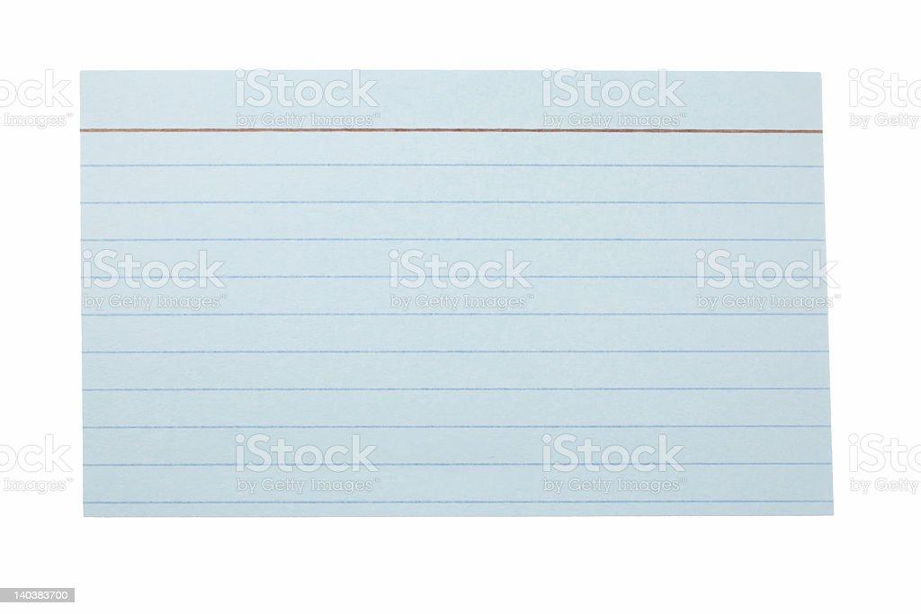 Blue index card stock photo