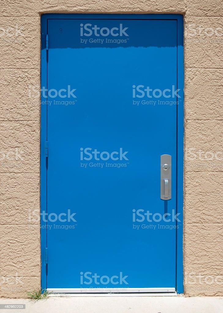 Blue Industrial Door stock photo