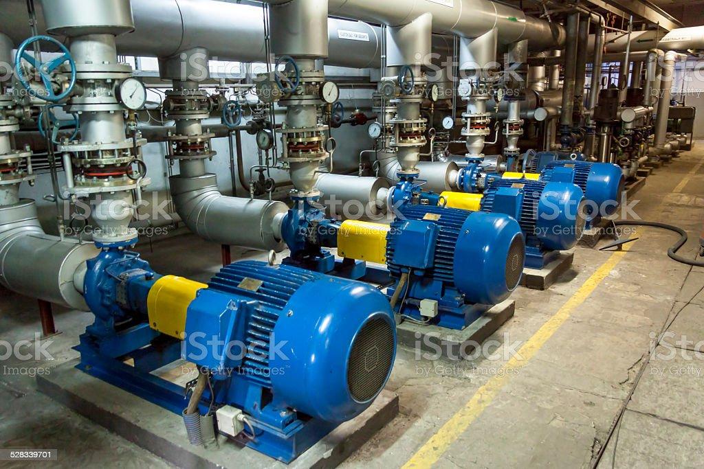 Blue industrial pump stock photo