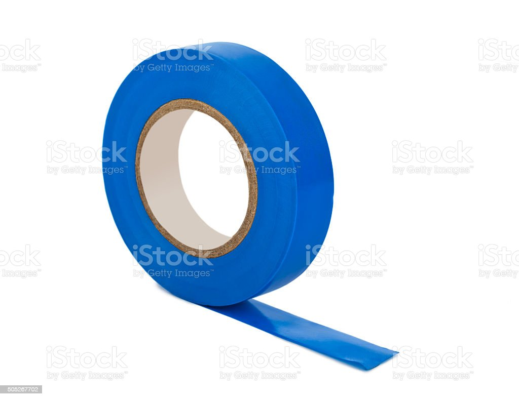 Blue insulating tape stock photo