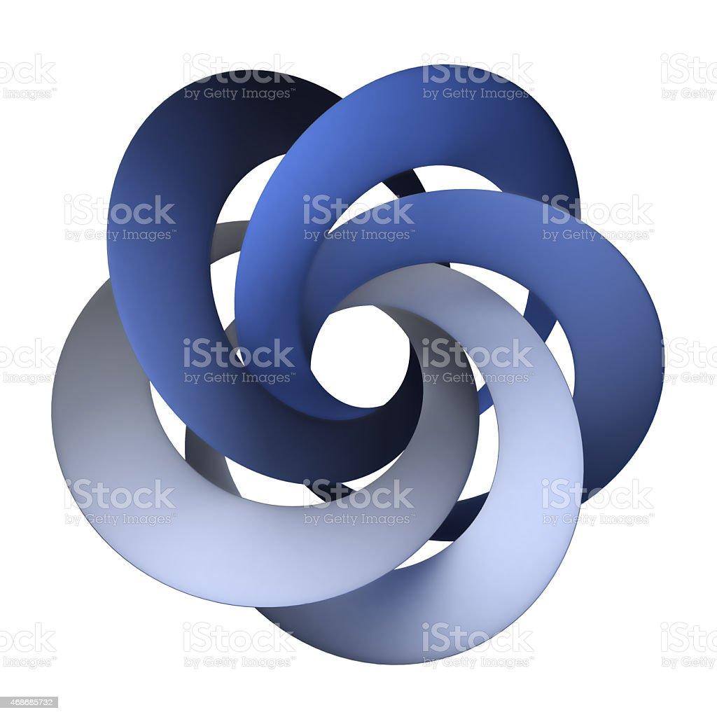 Blue interlocked rings stock photo