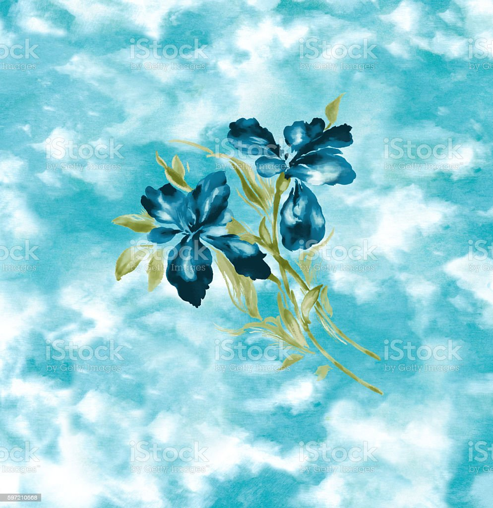 Blue Iris Watercolor Painting stock photo