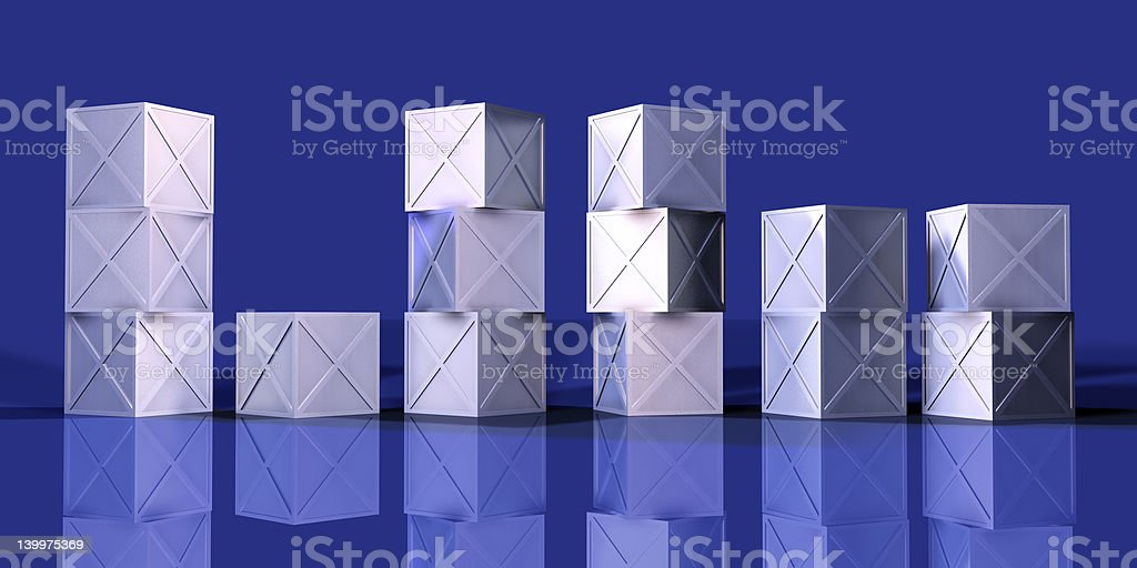 Blue Iron Boxes royalty-free stock vector art