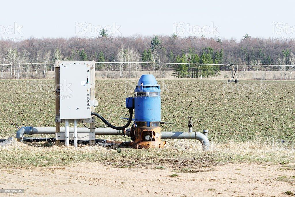 Blue Irrigation Well stock photo
