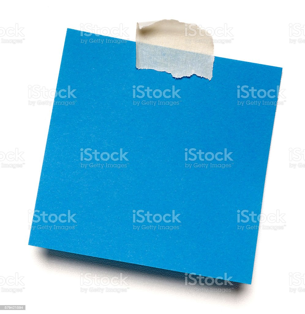 Blue isolated post-it note stock photo