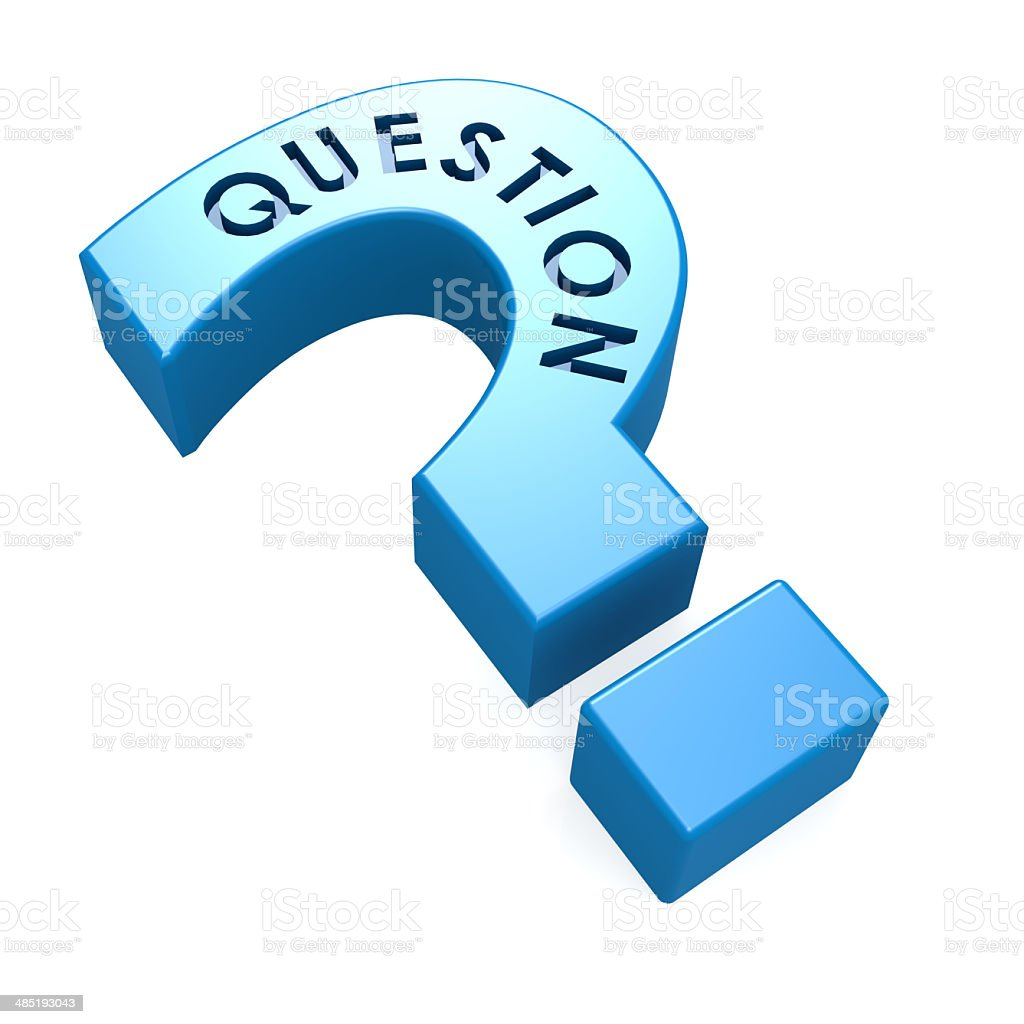 Blue isolated question mark stock photo