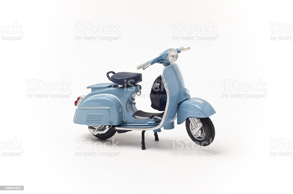 Blue Italian vintage scooter on a white background stock photo