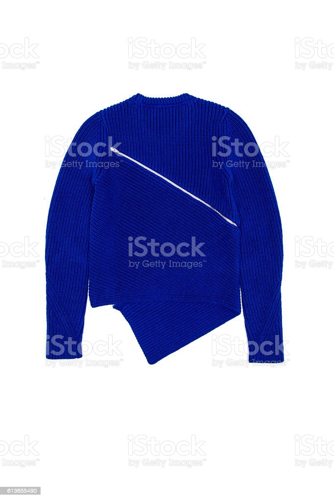 blue jacket with zipper on a white background stock photo