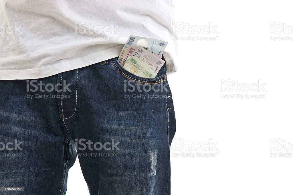 Blue jean pocket with money stock photo