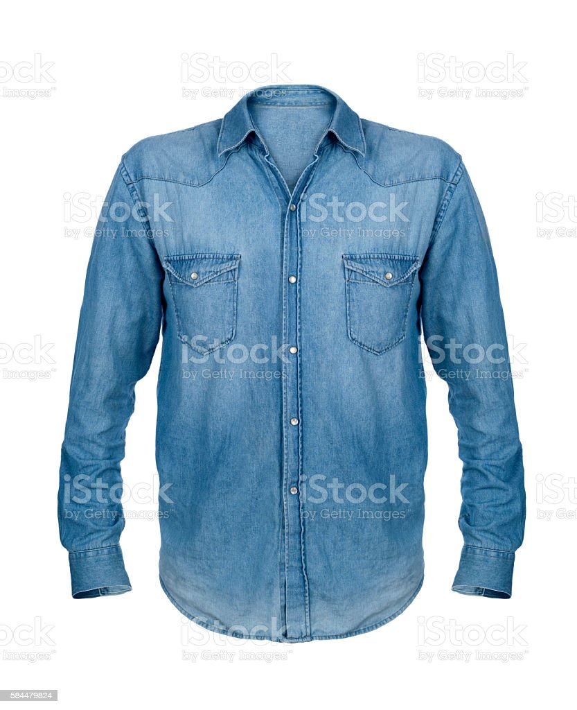 Blue jean shirt isolated on white background stock photo