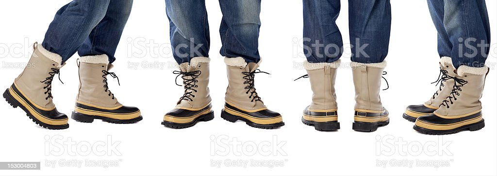 blue jeans and snow boots royalty-free stock photo
