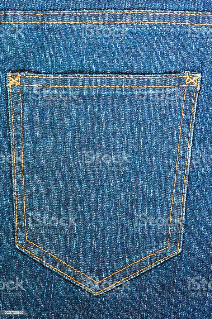 Blue jeans back pocket. stock photo
