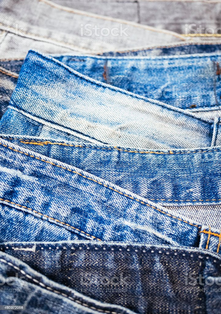 Blue Jeans Denim Stacked clothing stock photo