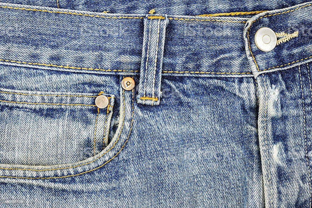 Blue jeans fabric with pocket royalty-free stock photo