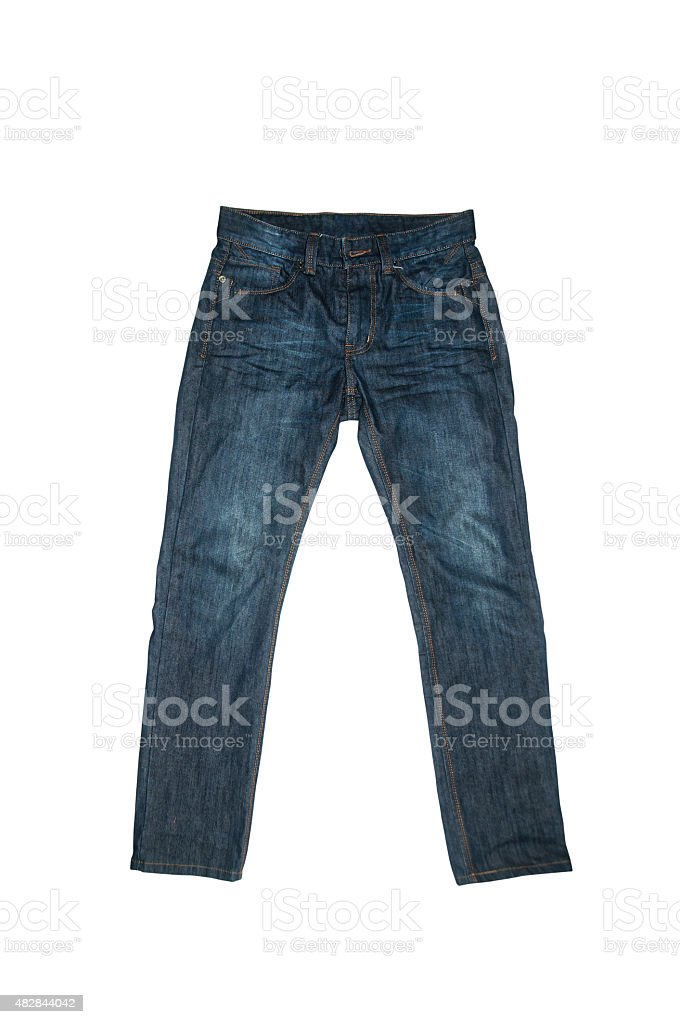 Blue Jeans isolated on white background. stock photo