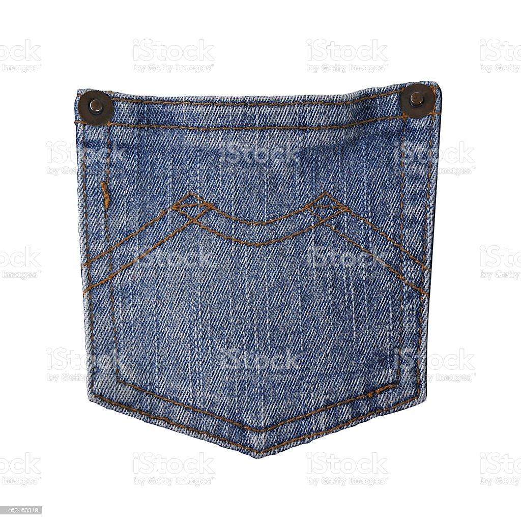 Blue jeans pocket isolated on white background. stock photo