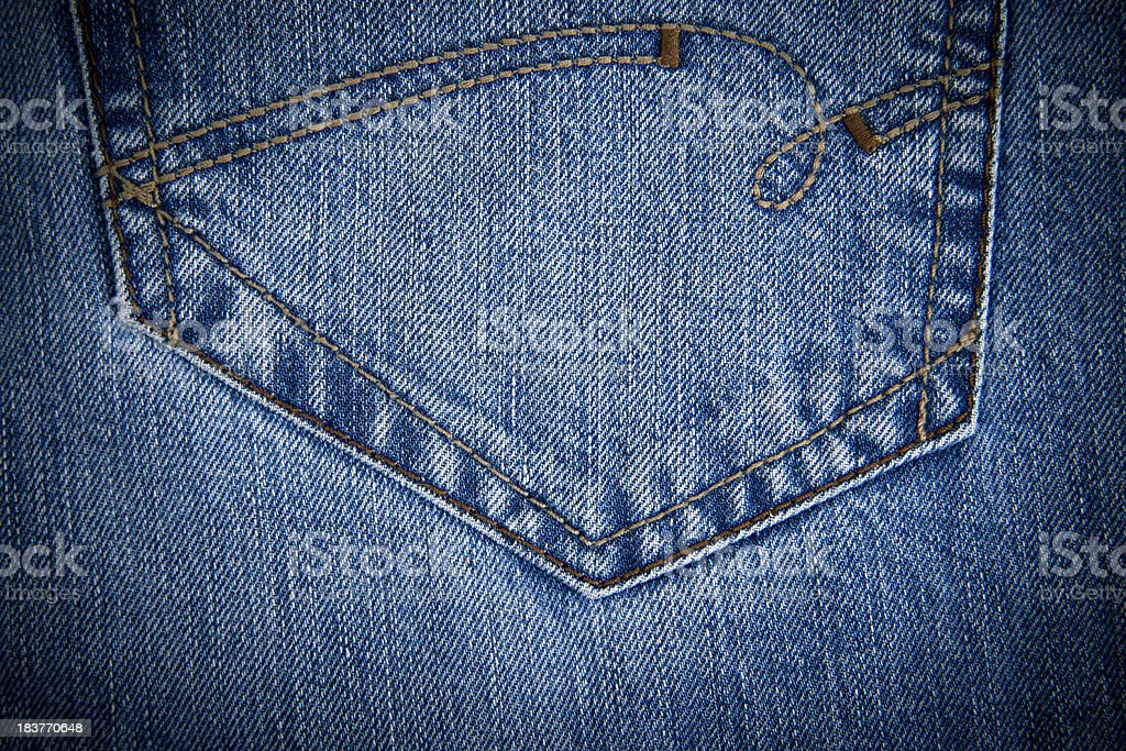 Blue jeans pocket royalty-free stock photo