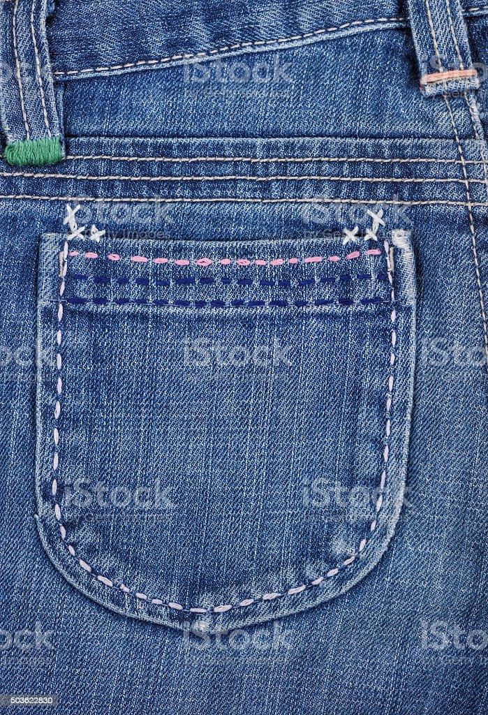 Blue jeans pocket. stock photo