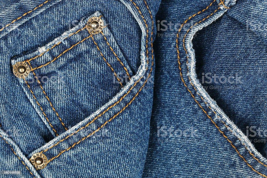 blue jeans pocket stock photo