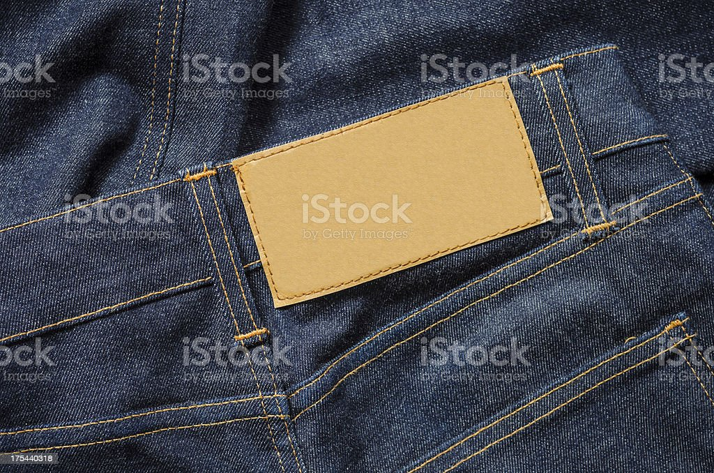 Blue Jeans with Blank leather label stock photo