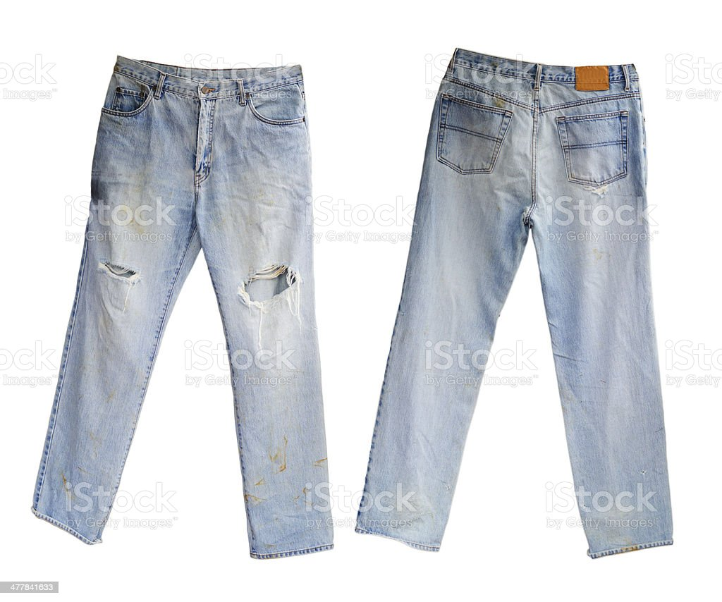 Blue Jeans with Blank leather label royalty-free stock photo
