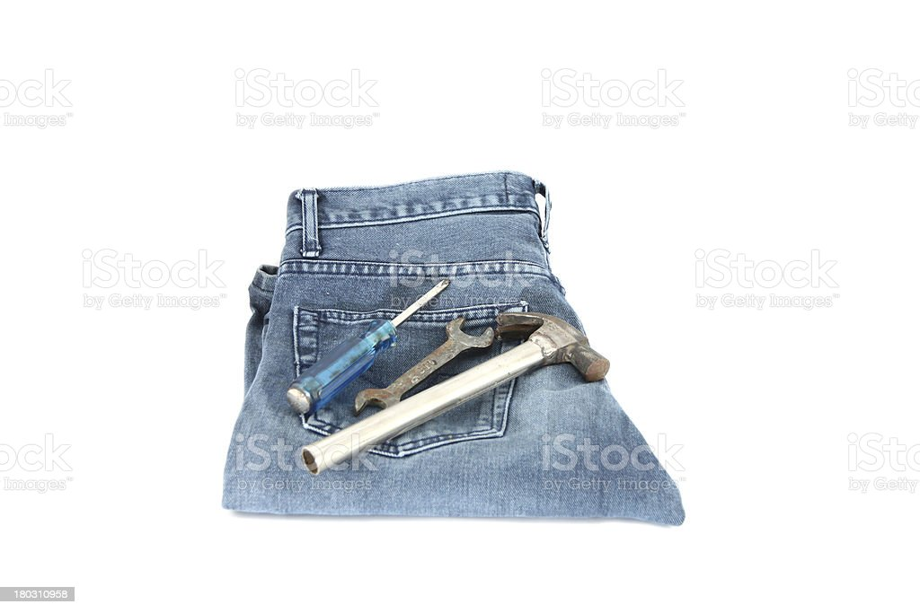 Blue Jeans,Tools and money. royalty-free stock photo