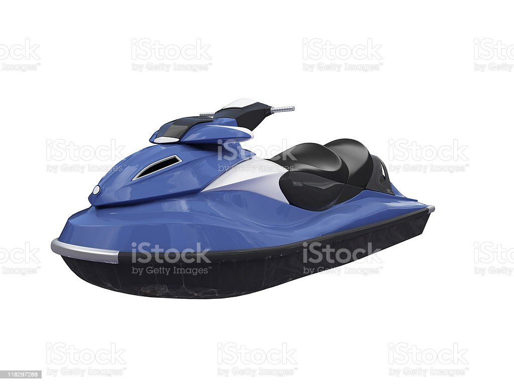 Blue jet ski with capacity to carry two people  stock photo