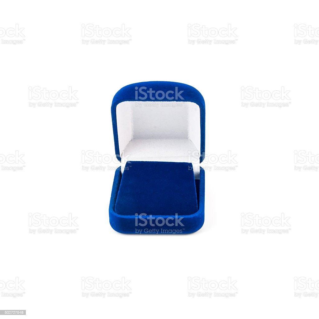 Blue jewelry box isolated on white stock photo