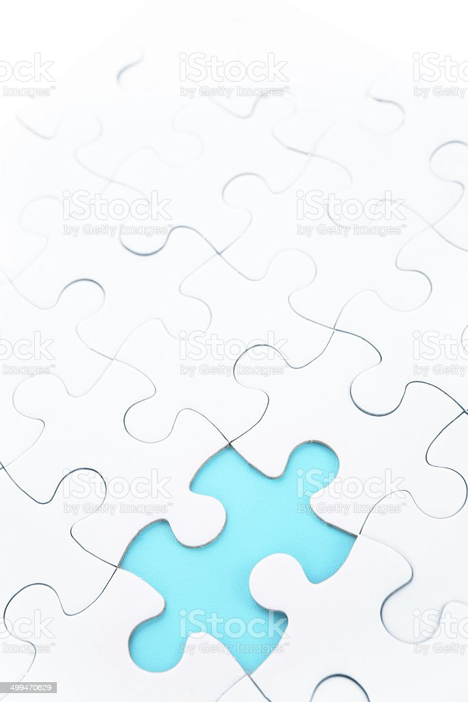 Blue Jigsaw Missing Piece stock photo