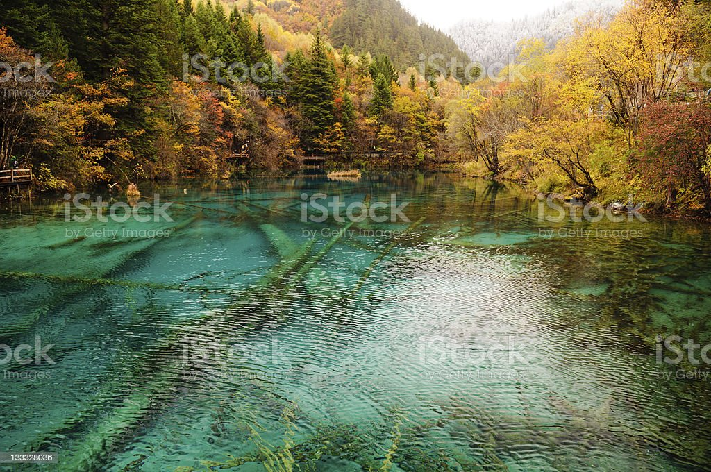Blue Jiuzhaigou Lake, Sichuan, China stock photo