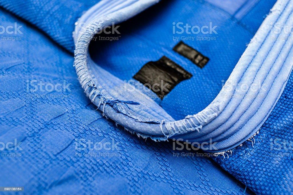 Blue judo uniform detail stock photo