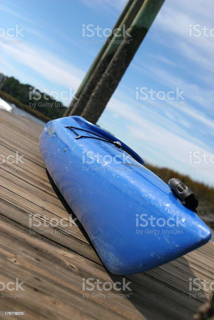 Blue kayak, angle shot stock photo