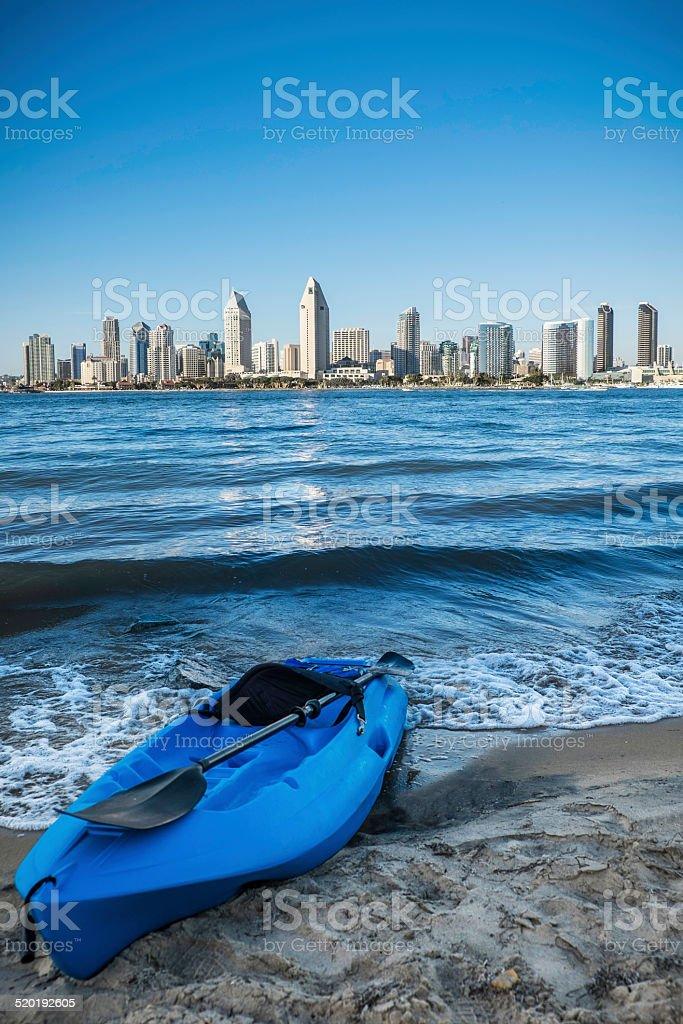 Blue Kayak On San Diego Bay stock photo