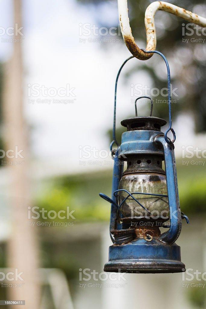 Blue kerosene oil lantern royalty-free stock photo
