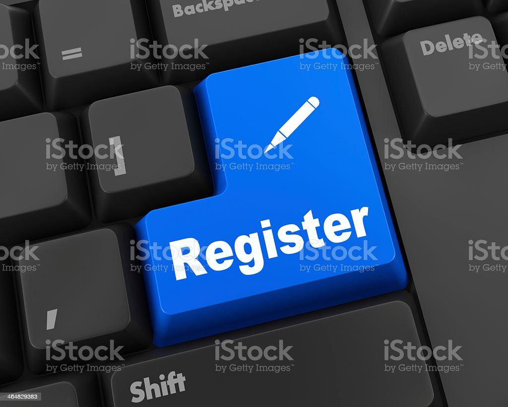 Blue keyboard button that says register stock photo